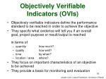 objectively verifiable indicators ovis