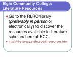 elgin community college literature resources