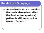 rural urban groupings