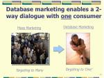 database marketing enables a 2 way dialogue with one consumer