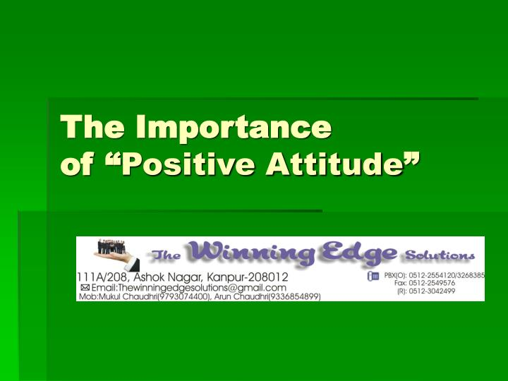 the importance of positive attitude n.