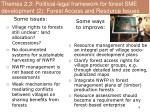themes 2 3 political legal framework for forest sme development 2 forest access and resource issues