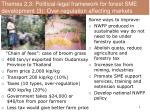 themes 2 3 political legal framework for forest sme development 3 over regulation affecting markets