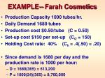 example farah cosmetics