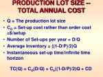 production lot size total annual cost