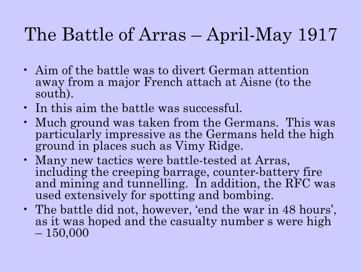 the battle of arras april may 1917 n.