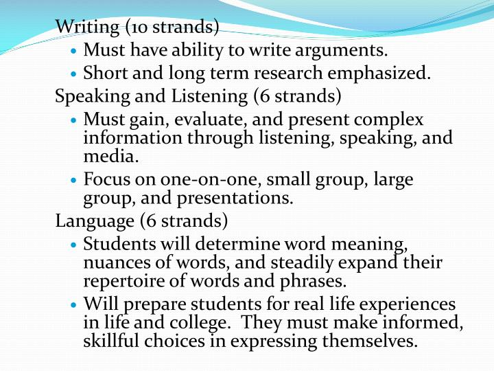 Writing (10 strands)