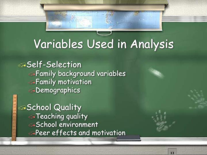 Variables Used in Analysis