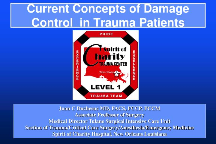 current concepts of damage control in trauma patients n.
