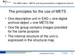 the principles for the use of mets