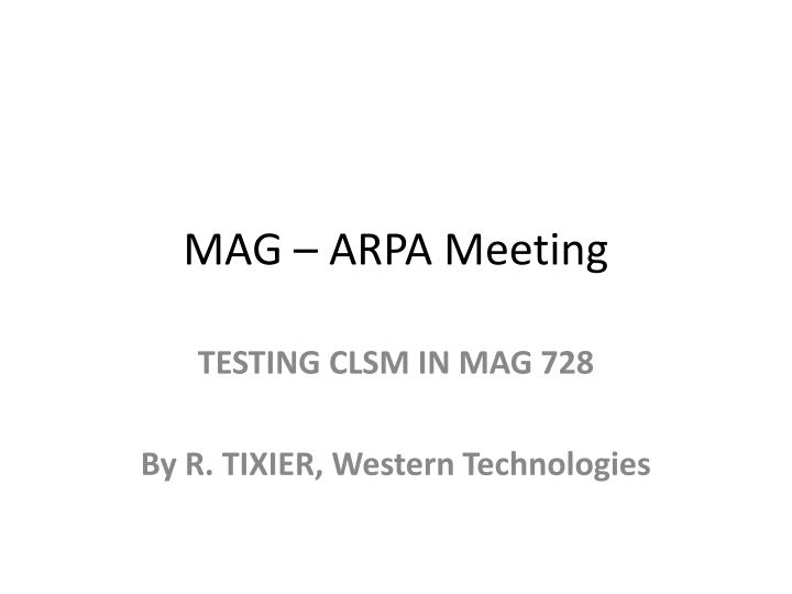 mag arpa meeting n.