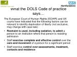 what the dols code of practice says