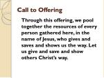 call to offering