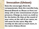 invocation unison