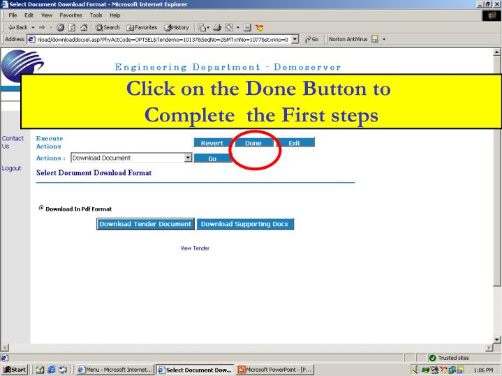 Click on the Done Button to