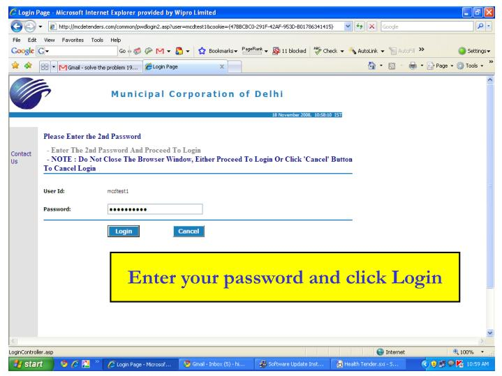 Enter your password and click Login