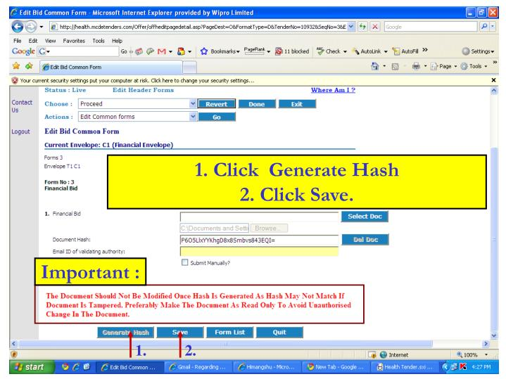 1. Click  Generate Hash