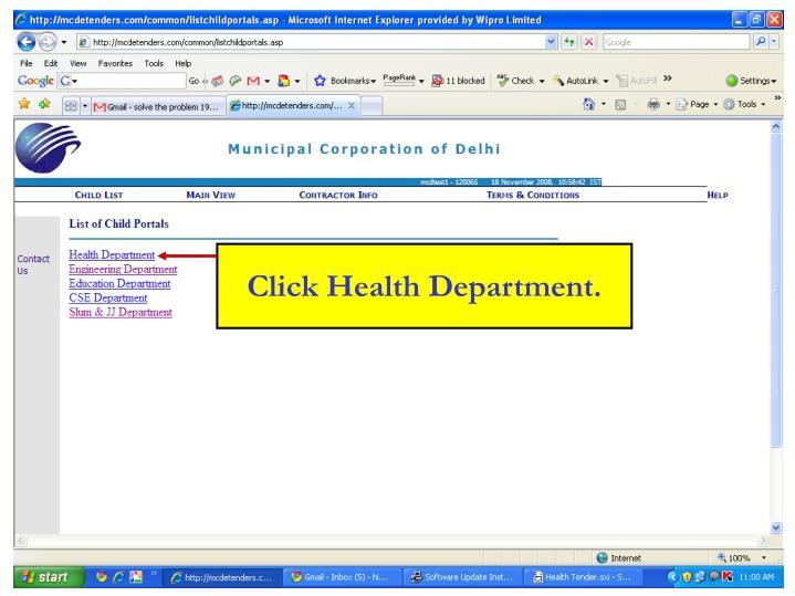 Click Health Department.