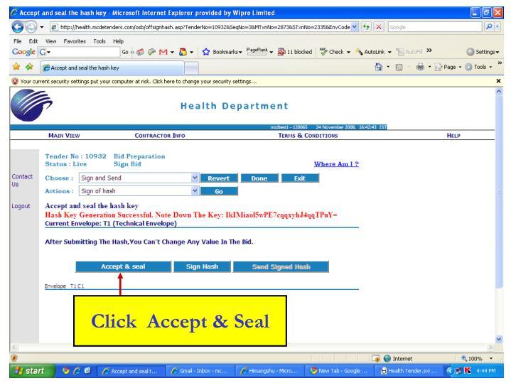 Click  Accept & Seal