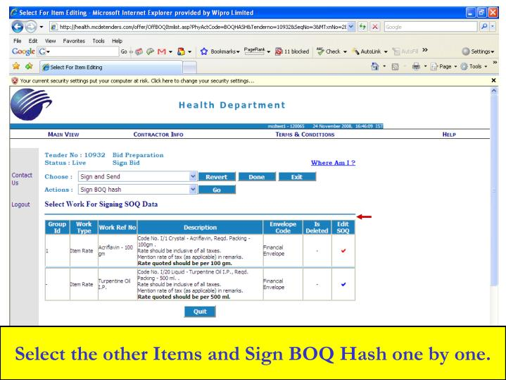 Select the other Items and Sign BOQ Hash one by one.