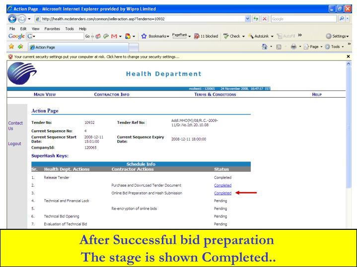 After Successful bid preparation