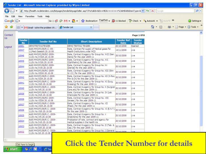 Click the Tender Number for details