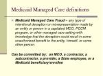 medicaid managed care definitions