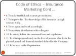 code of ethics insurance marketing cont