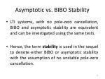 asymptotic vs bibo stability