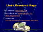 links resource page