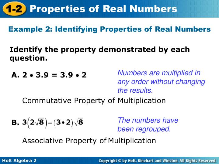 Example 2: Identifying Properties of Real Numbers