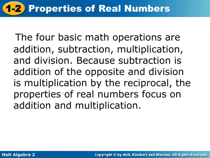 The four basic math operations are addition, subtraction, multiplication, and division. Because subt...