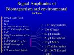 signal amplitudes of biomagnetism and environmental in tesla