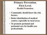 primary prevention first level health promotion