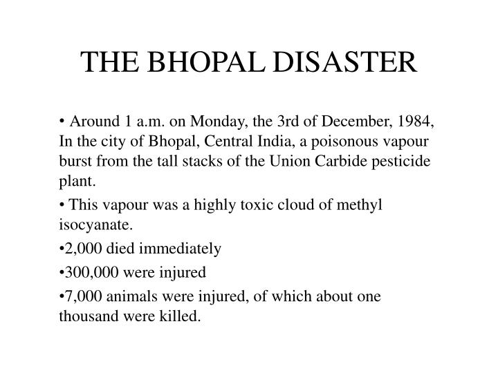 the bhopal disaster n.