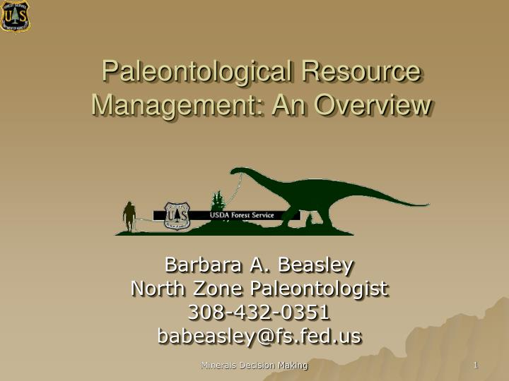 paleontological resource management an overview n.