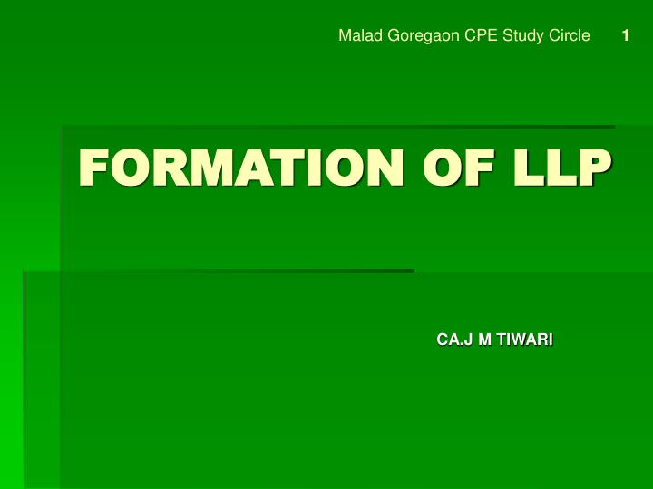 formation of llp n.