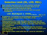 detection limit dl lod mdl