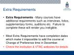 extra requirements