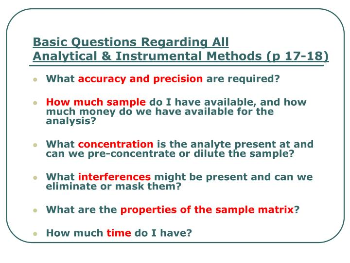 basic questions regarding all analytical instrumental methods p 17 18 n.