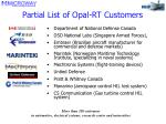 partial list of opal rt customers