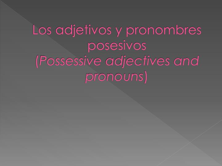 los adjetivos y pronombres posesivos possessive adjectives and pronouns n.