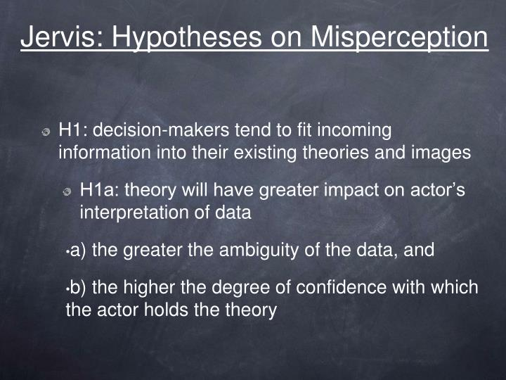 jervis hypotheses on misperception n.