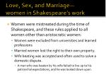 love sex and marriage women in shakespeare s work