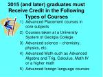 2015 and later graduates must receive credit in the following types of courses