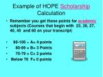 example of hope scholarship calculation