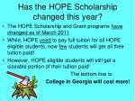 has the hope scholarship changed this year
