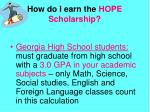 how do i earn the hope scholarship
