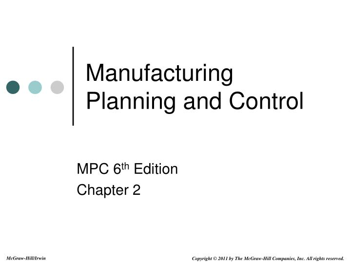 manufacturing planning and control n.