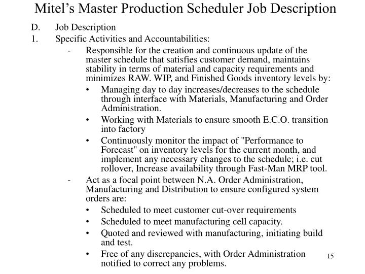 PPT Example Company MPS Records Handling MPS Lead Time – Production Scheduler Job Description